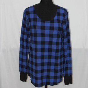Old Navy Blue & Black Check Thermal Crew Neck Top